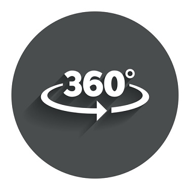 Angle 360 degrees sign icon. Geometry math symbol. Full rotation. Circle flat button with shadow. Modern UI website navigation. Vector